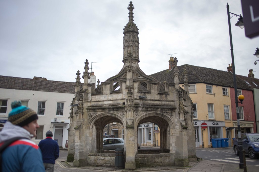 In the centre of Malmesbury, Wiltshire, stands the market cross, built c.1490, possibly using limestone salvaged from the recently ruined part of Malmesbury Abbey, which then began just across the market square from the cross. Source: http://en.wikipedia.org/wiki/Malmesbury_Market_Cross