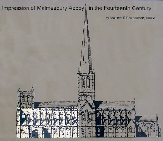 What is left of Malmesbury Abbey today. Image from Wikipedia.