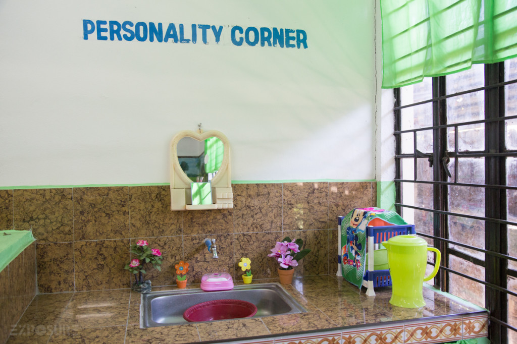 Personality Corner in a classroom, where each classroom have their own sink and toilet now.