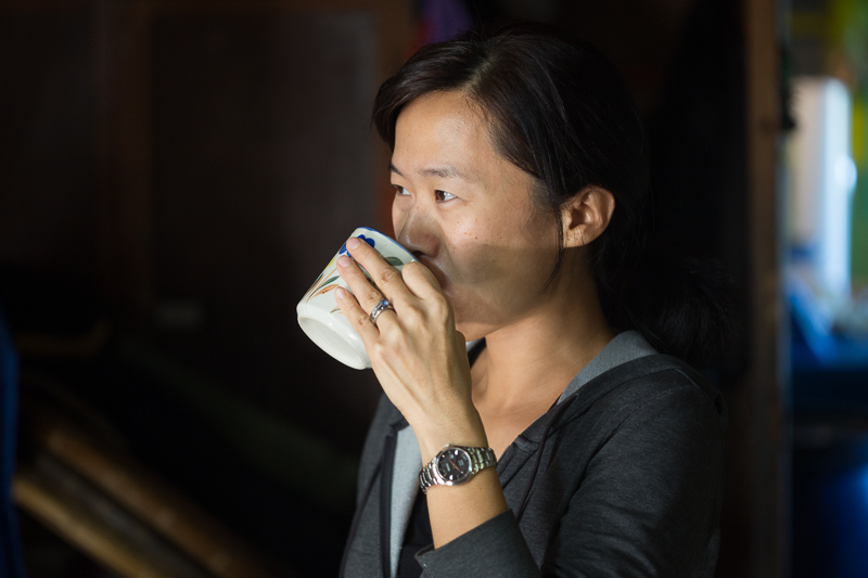 Geraldine enjoying some of the local coffee