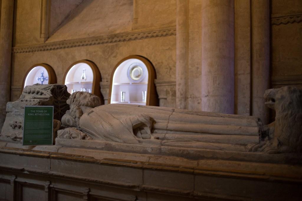 Empty fifteenth-century tomb of King Æthelstan at Malmesbury Abbey.
